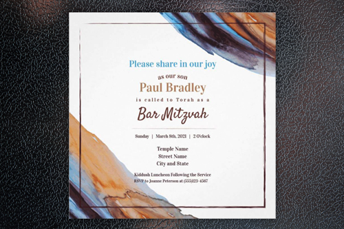 bar mitzvah invitations modern blue hebrew unique blue brown