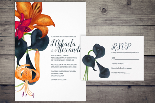 wedding invitations fall theme floral calla lily tiger lily dark blue gold