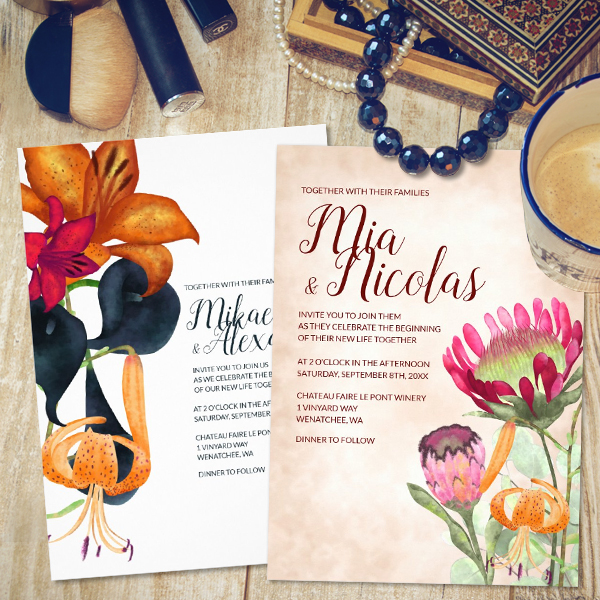 wedding-invitations-elegant-vintage-modern-blue-gold-fall-calla-lilies-protea-flowers-template