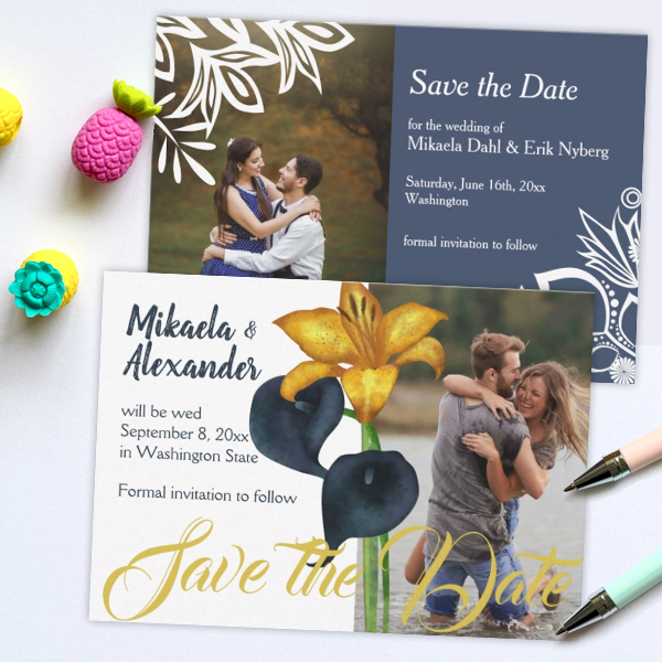 wedding-save-the-date-cards-blue-elegant-gold-vintage-modern
