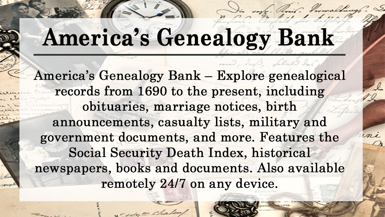 America geneology bank