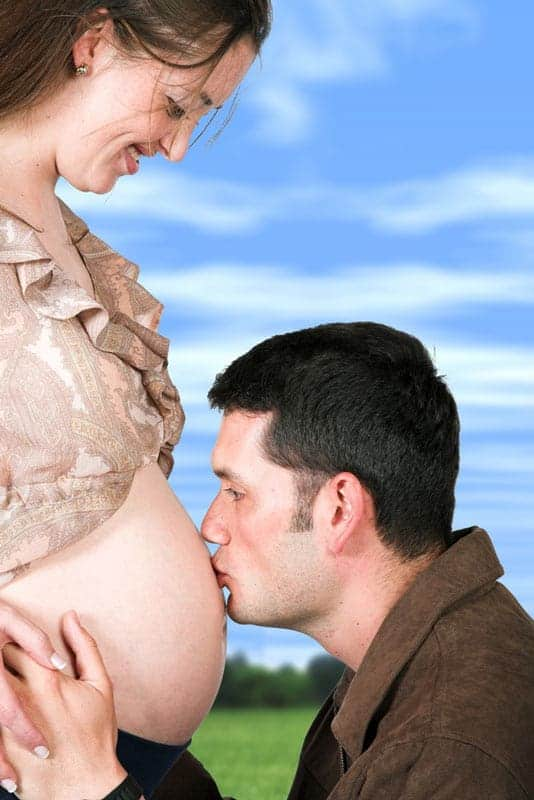 Expectant father and mother