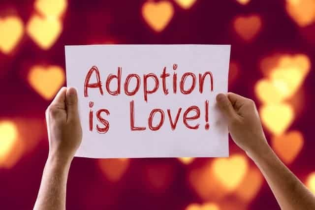 Adoption is Love card with heart bokeh background