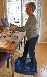 Joyce at standing workstation