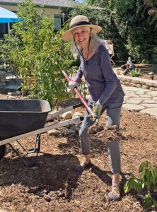 Lora at 77 gardening 2 months after hip replacement