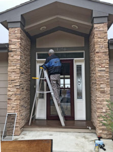Willis on ladder washing transom