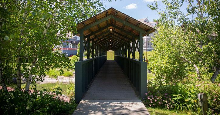 a long pedestrian bridge