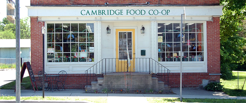 Front of the Co-op on Main Street in Cambridge