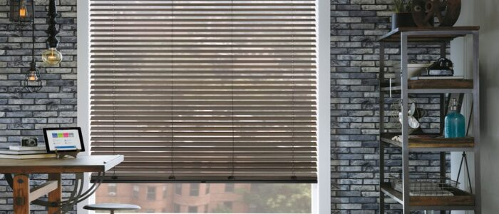 brown wood blinds