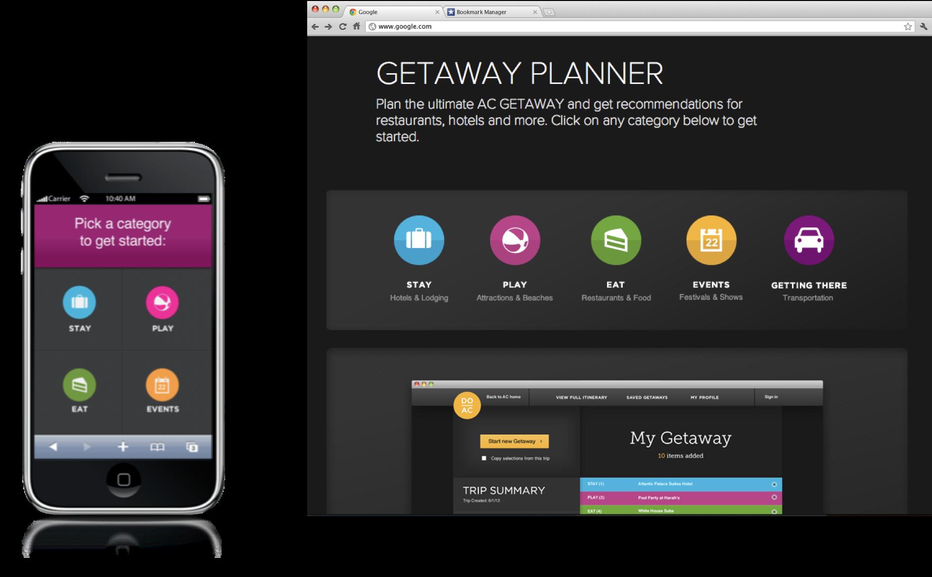 Hero shots of the Getaway Planner mobile and desktop sites