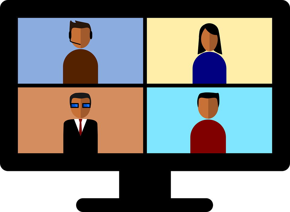 cartoon images of a video conference computer screen. It's split into 4 quadrants with a stylized image of a person in each.