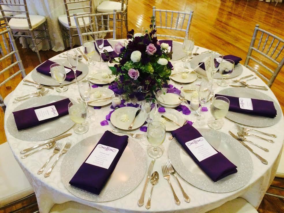 Ivory Poly Tablecloth w/ Eggplant Poly Napkins