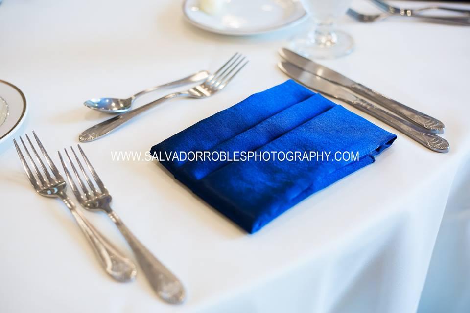 White Poly Tablecloths w/ Royal Majestic Napkins