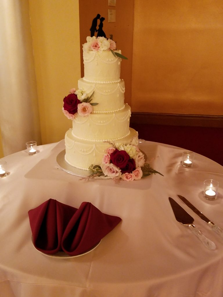 Blush Satin Tablecloth w/ Burgundy Napkins