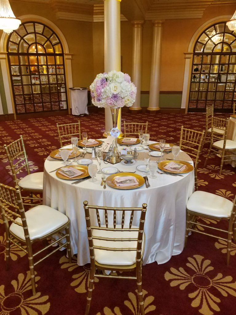 White Satin Tablecloths with Lilac Majestic Napkins