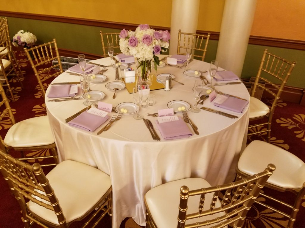Ivory Majestic Tablecloths with Lilac Majestic Napkins