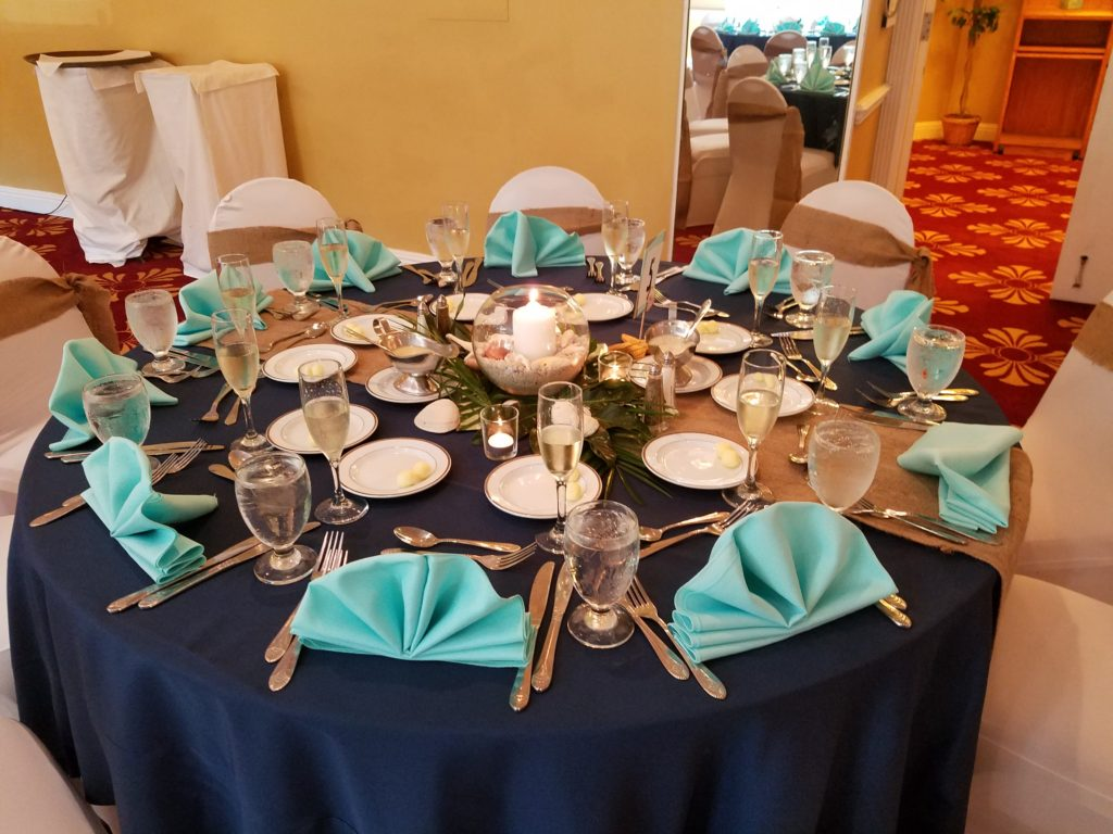 Navy Blue Tablecloths w/ Light Blue Napkins and Burlap Sashes and Runners
