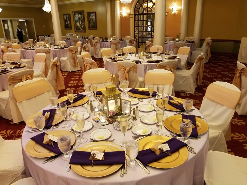 Lilac Majestic Tablecloths w/ Gold Satin Sashes and Purple Napkins