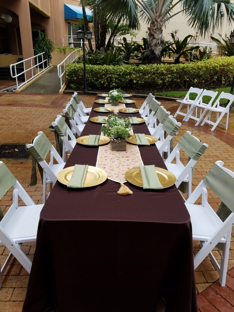 Eggplant Satin Tablecloth with Sage Napkins and Sashes