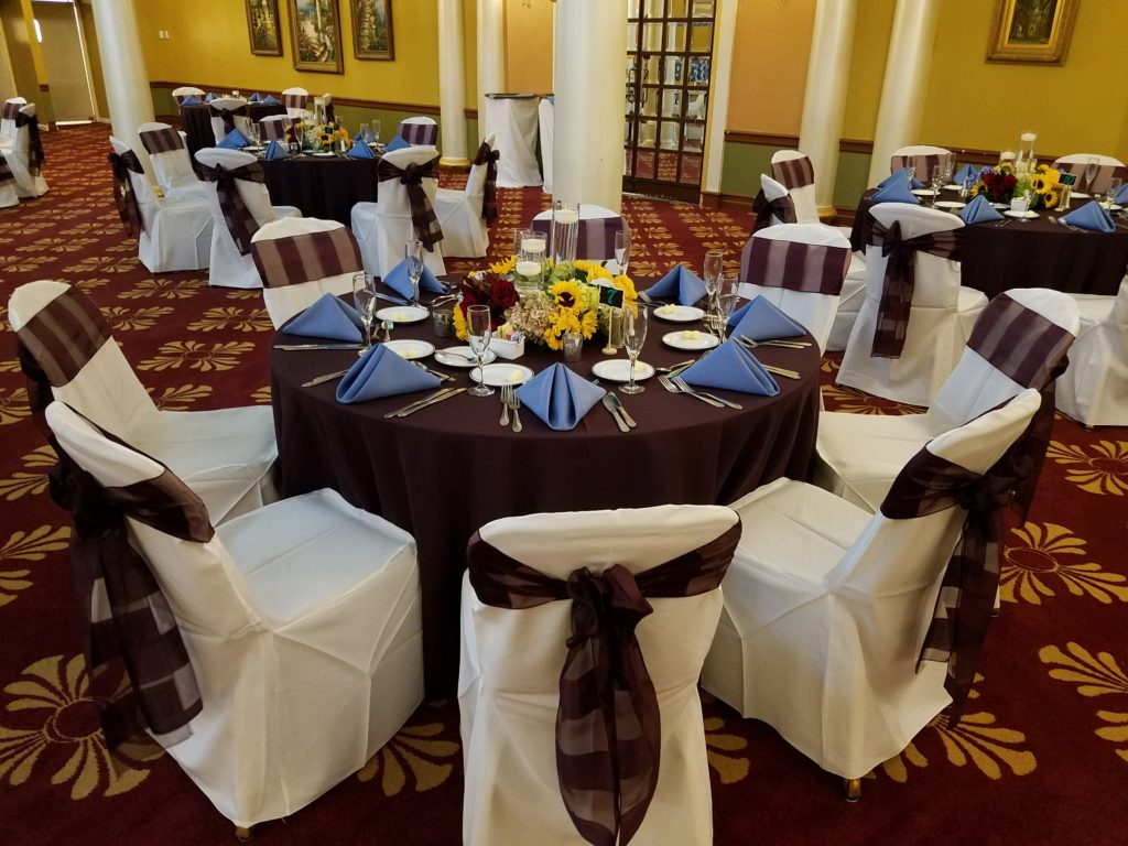 Aubergine Eternity Stripe Sashes w/ Periwinkle Napkins and Eggplant Tablecloths