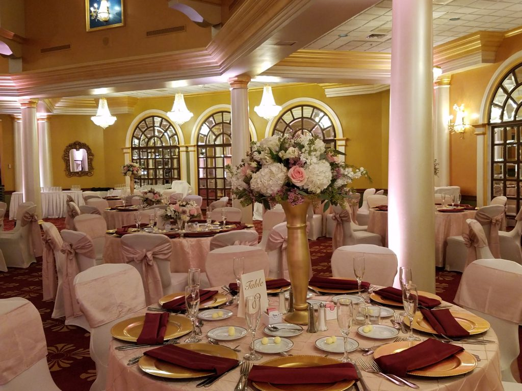 Blush Crush Sashes w/ Blush Pintuck Tablecloths and Burgundy Napkins