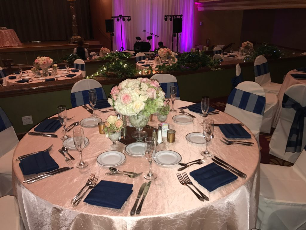 Blush Crush Tablecloth w Navy Poly Napkins