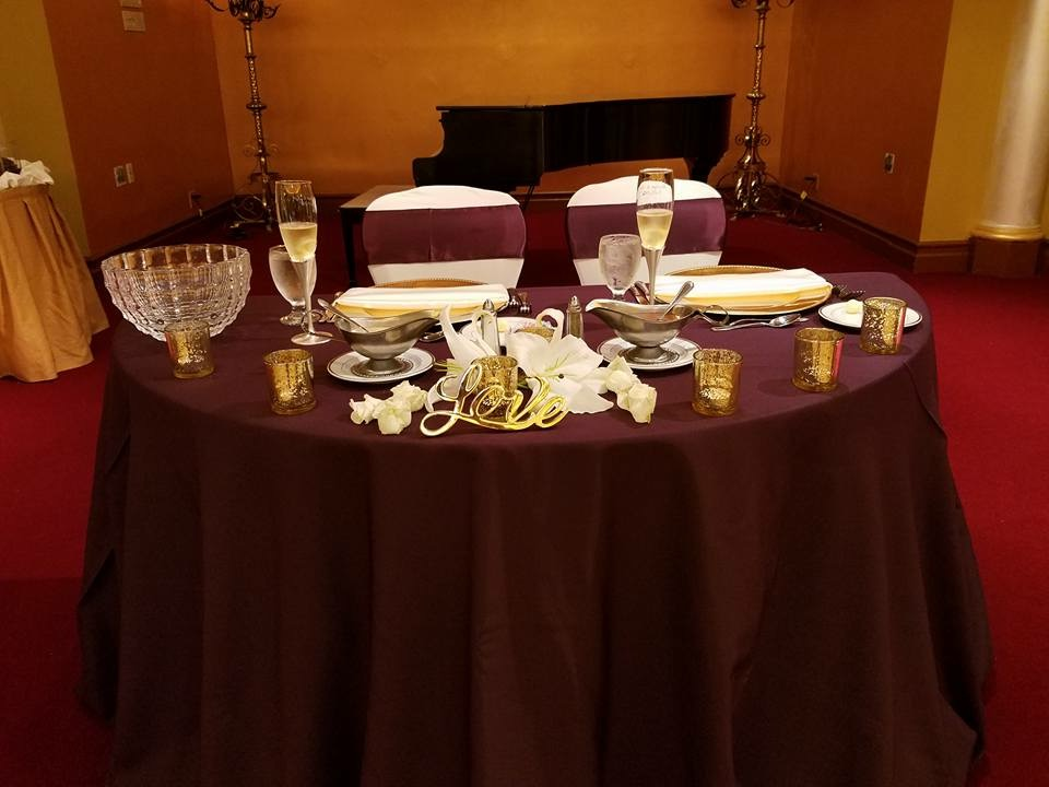 Burgundy Sweetheart Tablecloth w/ Burgundy Satin Sashes and White Satin Napkins
