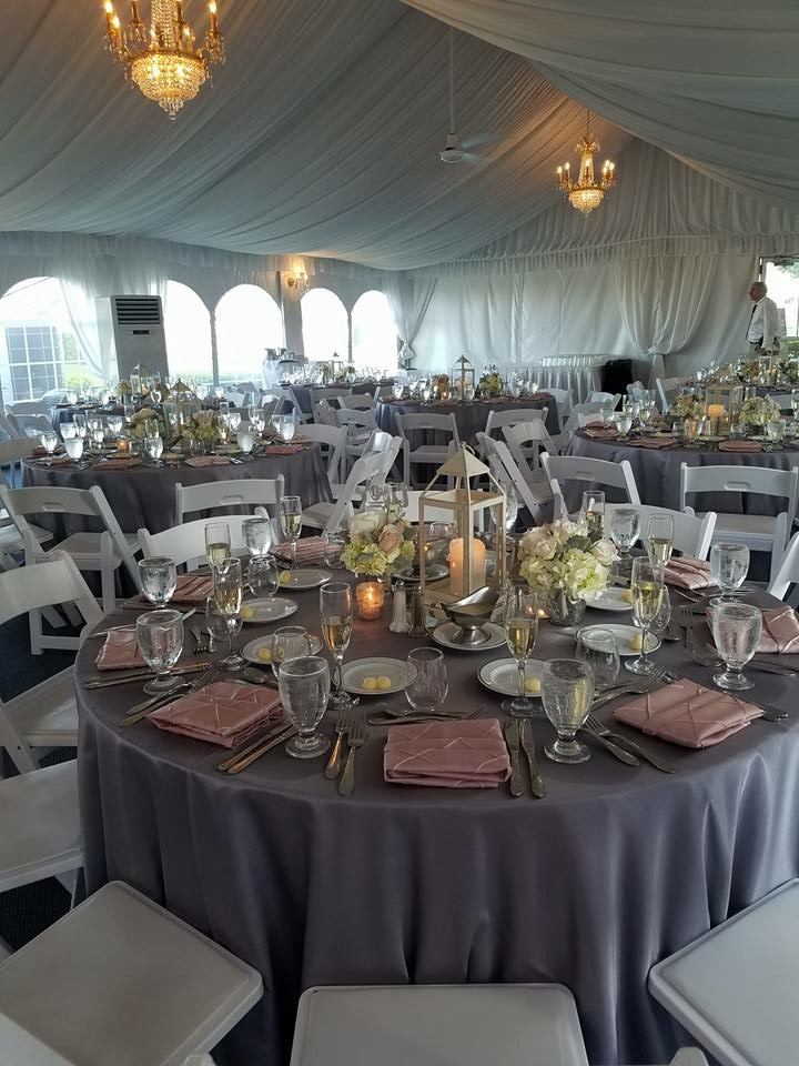 Steel Majestic Tablecloths with Blush Pintuck Napkins