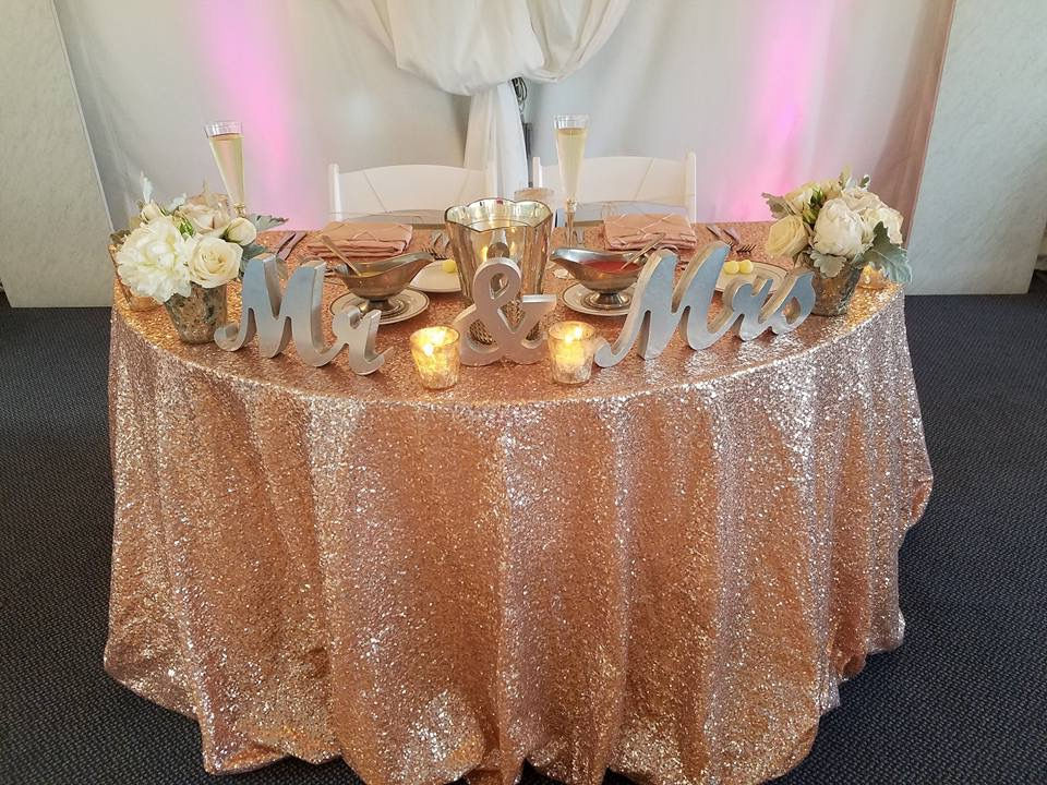 Blush Sequin Sweetheart Tablecloth with Blush Pintuck Napkins
