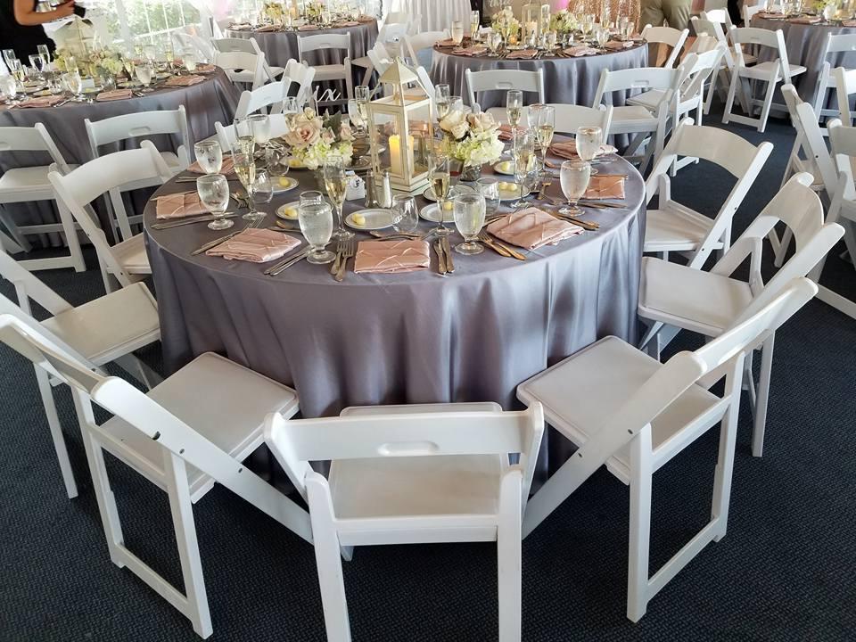 Lilac Majestic Tablecloths w/ Blush Pintuck Napkins
