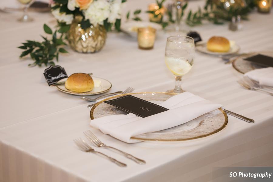 White Imperial Stripe Tablecloth w/ White Satin Napkins
