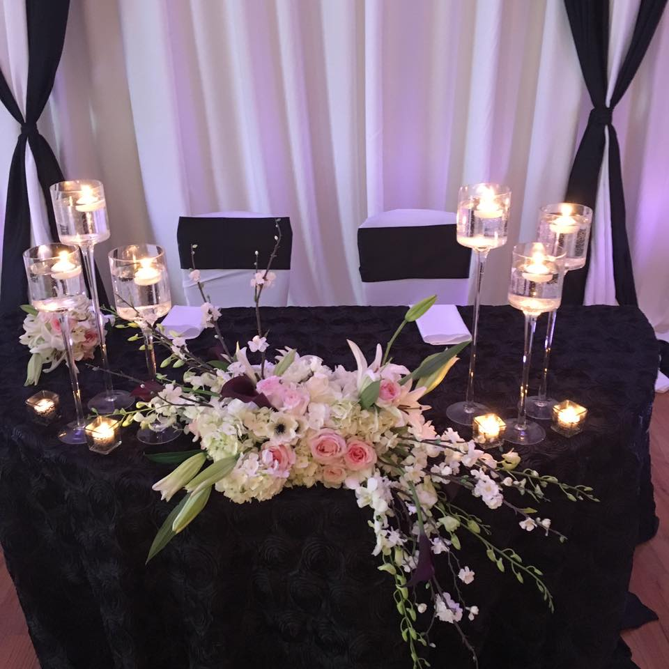 Black Rosette Tablecloth wi/ Black Poly Sashes and White Spandex Chair Covers