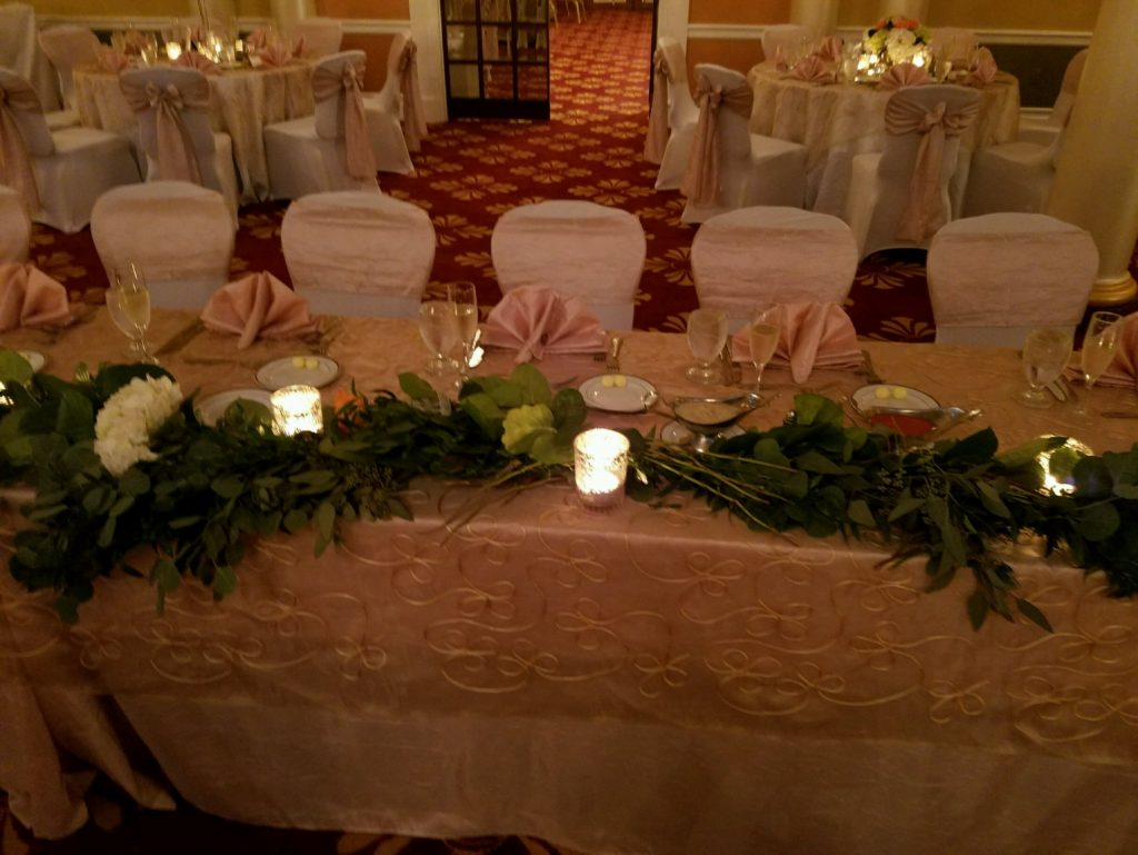 Blush Crush Tablecloths and Sashes w/ White Spandex Chair Covers