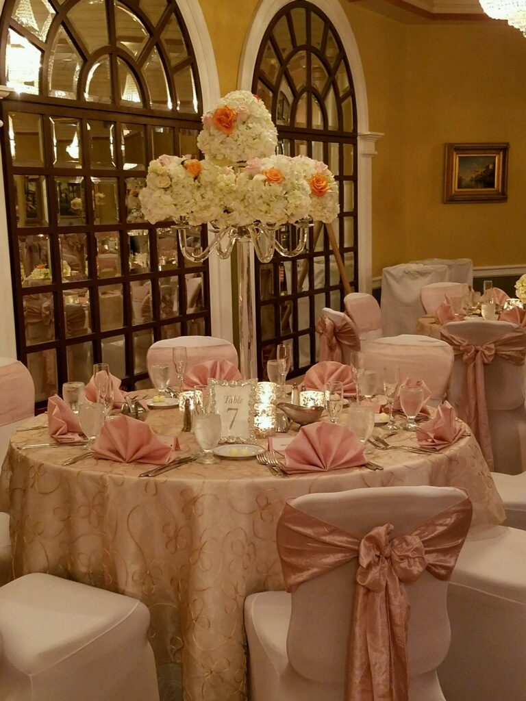 Blush Crush Sashes w/ Blush Satin Napkins and Gold Vine Overlays