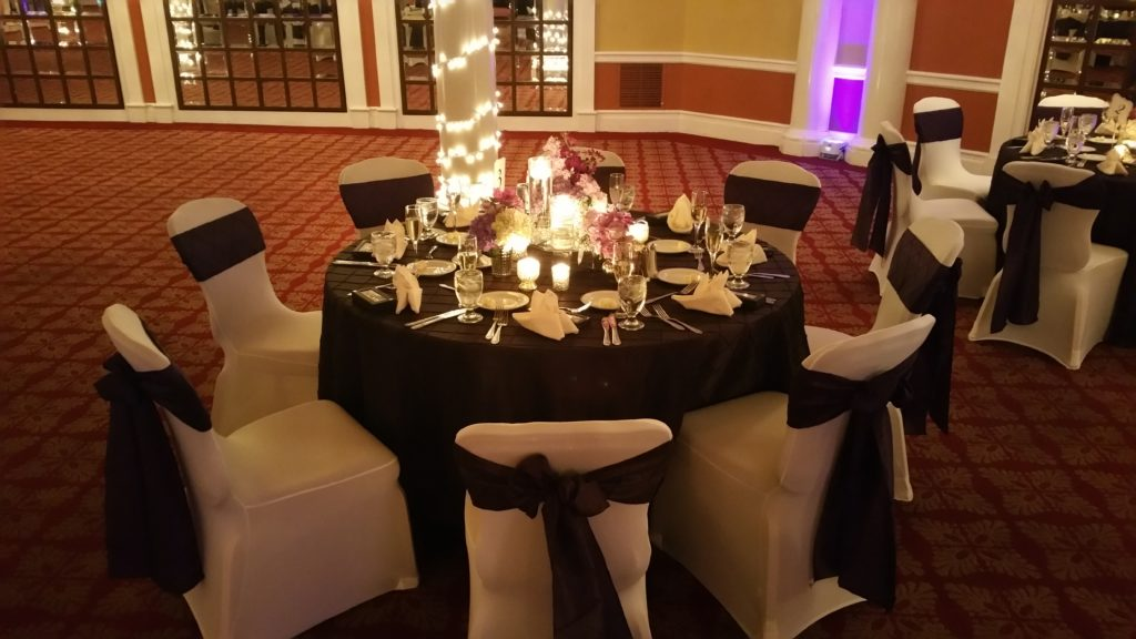 Eggplant Poly Tablecloths w/ Eggplant Poly Sashes