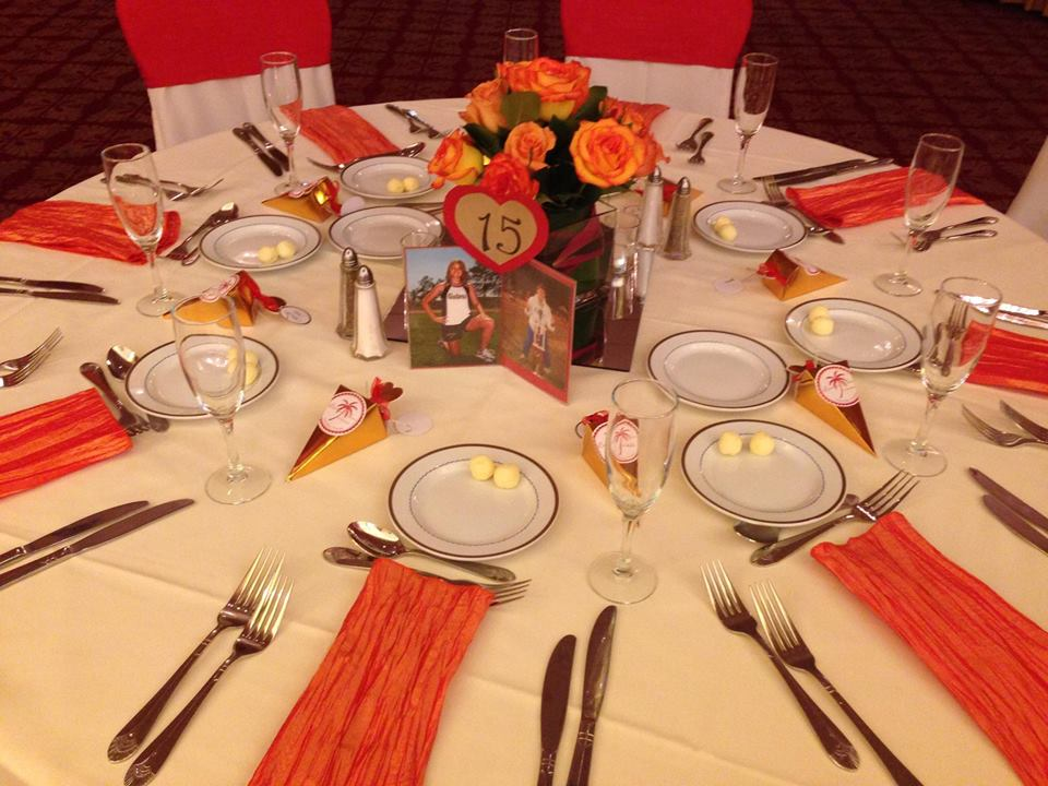 Persimmon Crush Sashes and Orange Tafetta Napkins