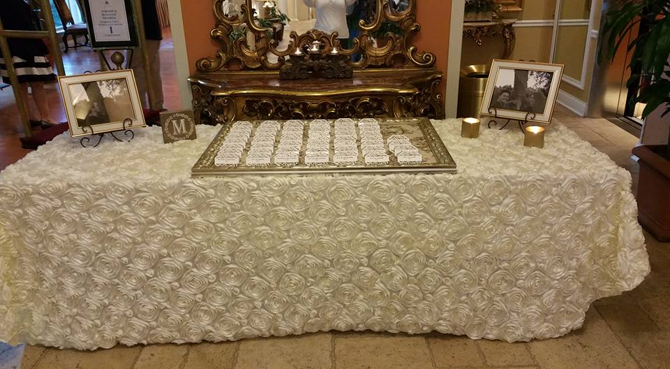 White Rosette Sign-In Tablecloth