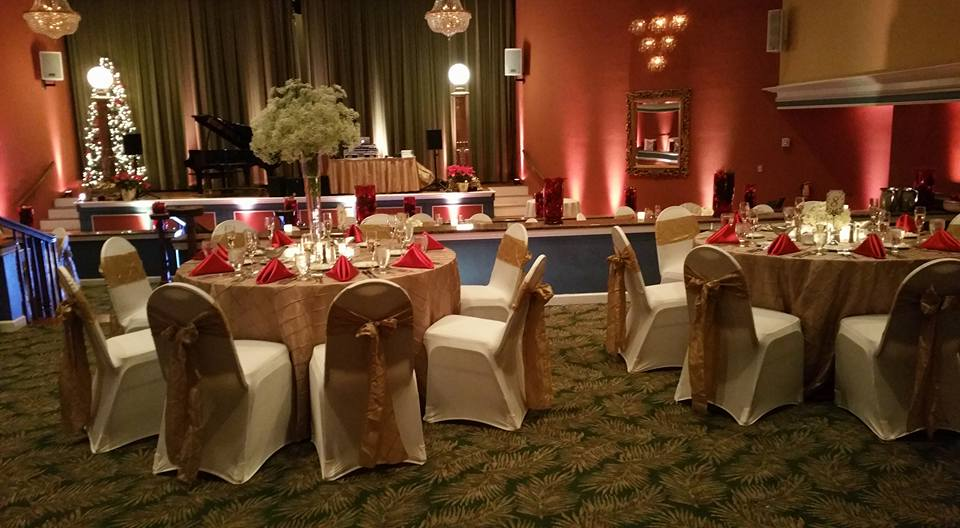Gold Pintuck Sashes and Tablecloths with Red Satin Napkins