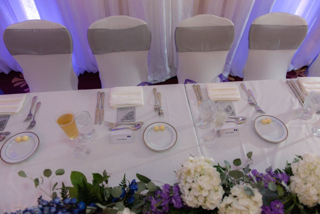 Silver Majestic Sashes with White Satin Napkins and White Spandex Chair Covers