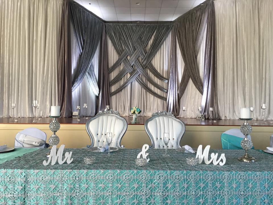 Aqua and Silver Majestic Tablecloths and Sashes w/ Kaleidoscope Overlays