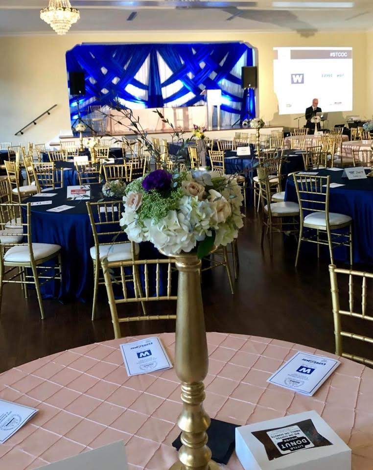 Blush Pintuck Tablecloth and Navy Blue Majestic Tablecloths