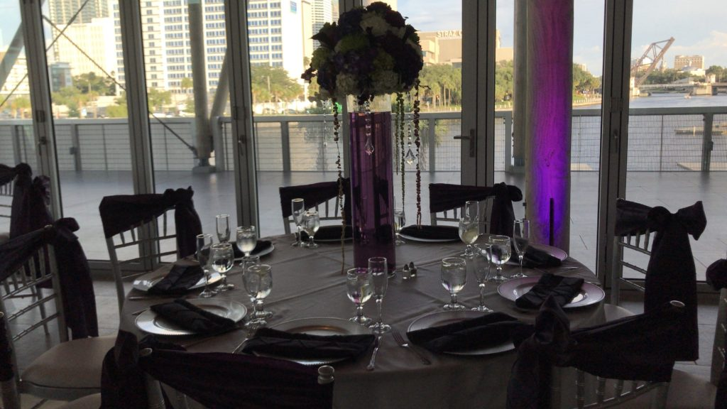 White Poly Tablecloths with Eggplant Satin Sashes and Eggplant Pintuck Napkins