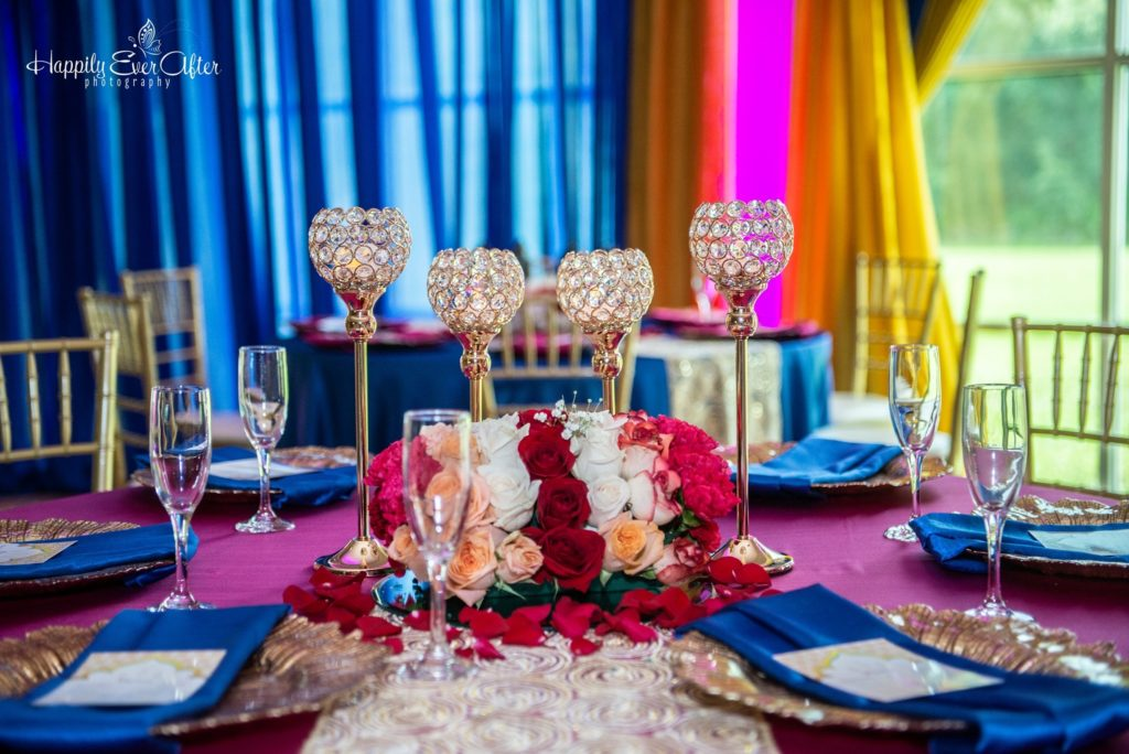Fuchsia Majestic Tablecloth with Royal Blue Majestic Napkins