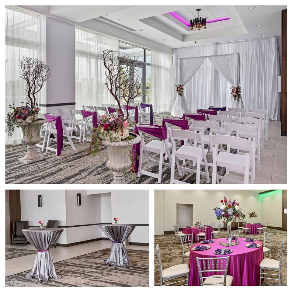 Fuchsia Majestic Tablecloths w/ Purple Majestic Napkins and Steel Majestic Tablecloths