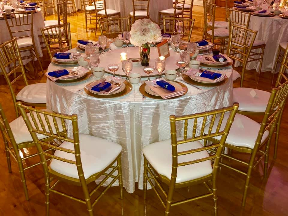Ivory Taffeta Tablecloths with Blush Satin Napkins
