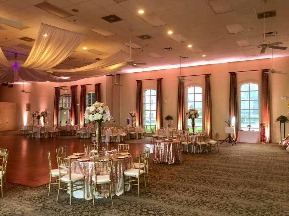 Blush Sequin Overlays with Ivory Majestic Tablecloths and White Satin Napkins