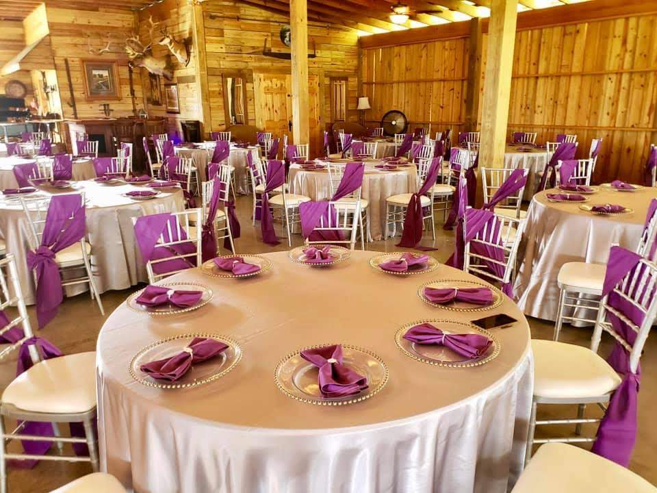 Raspberry Poly Sashes w/ Silver Majestic Tablecloths and Purple Majestic Napkins
