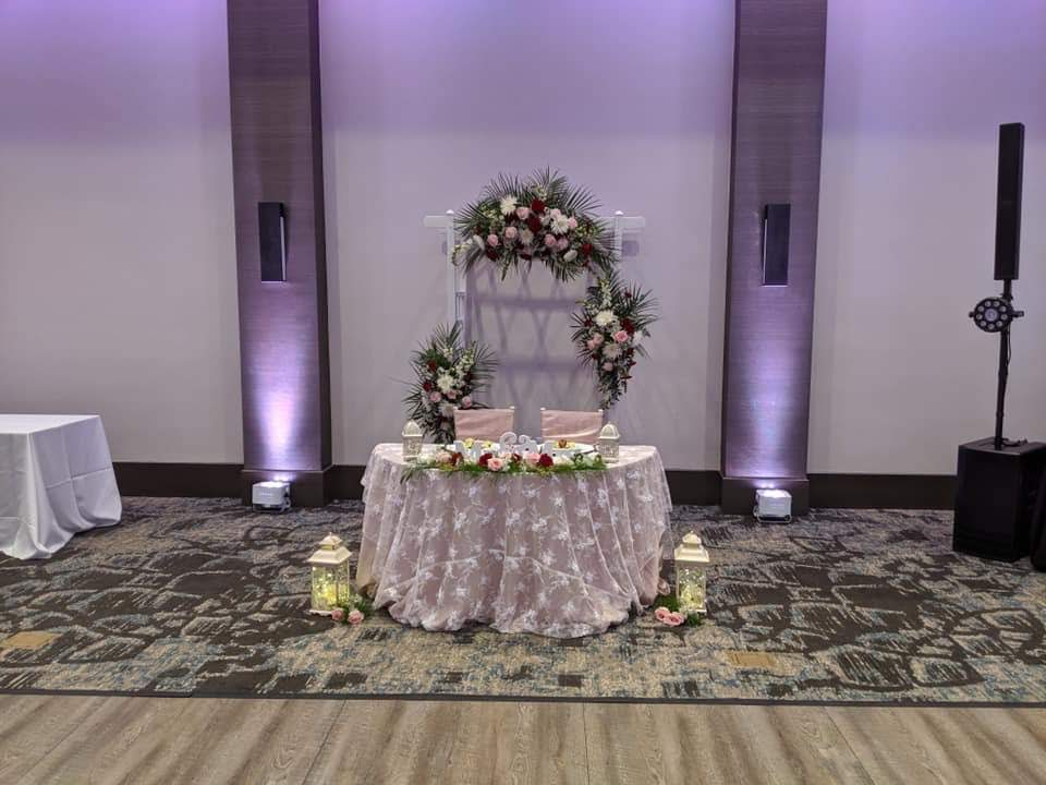 White Baby Rose Overlay w/ Blush Satin Tablecloth