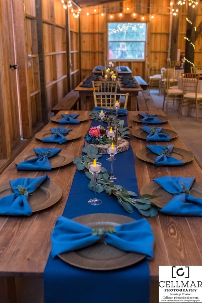 Wedgewood Poly Runner w/ Cobalt Majestic Napkins