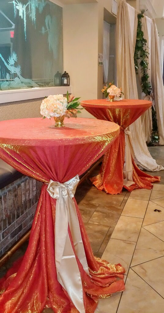 Persimmon Crush Tablecloth w/ Champagne Satin Sashes